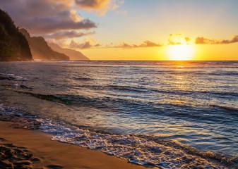 Wall Mural - Hawaiin sunset napali coast