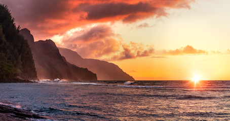 napali sunset Wall mural