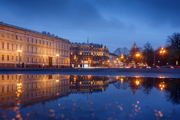 Palace square, view on Isaacs cathedral, Saint-Petersburg, Russia