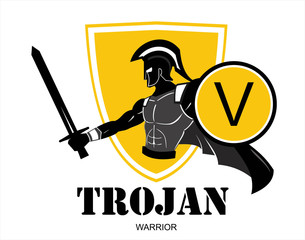 "Trojan or Spartan warrior holding shield and sword over the yellow shield icon. ""V"" letter on the shield symbolizing Victory, Viva etc. You can replace the ""V"" on the shield with your initial group"