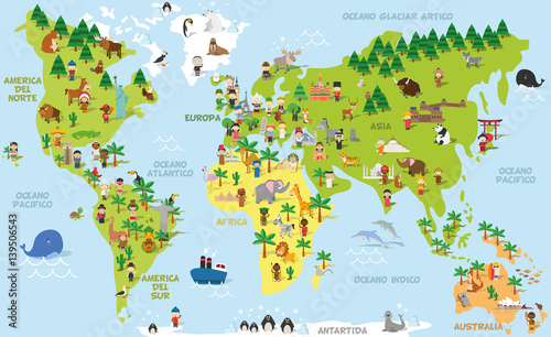 Funny cartoon world map with children of different nationalities ...