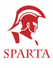 Sparta warrior head. Trojan helmet. Warrior Profile
