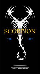 white scorpion. label and scorpion with the bent tail.