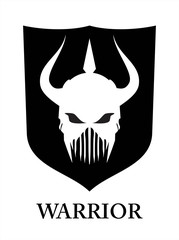 barbarian. warrior with the three horn. warrior. knight. barbarian on black shield.