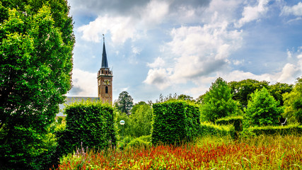 Church Tower of the Beemster Keyserkerk is visible from anywhere in and around the the old dutch village of Midden Beemster in the Beemster Polder in the Netherlands