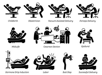 Childbirth at hospital. Ways to deliver baby at hospital by doctor or obstetrician. Methods are vaginal delivery, vacuum assisted, forceps, and Cesarean. Illustration in stick figures pictogram.