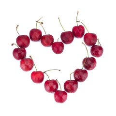 cherry isolated on white background Heart love