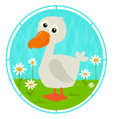Cute Duck - Cute cartoon duckling is standing on a grass with white flowers. Eps10