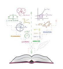 Open book and mathematical formulas. Drawing of mathematical in doodle style. Concept for education.