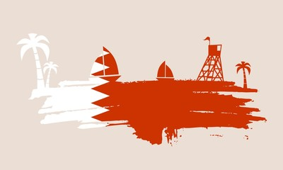 Vintage seaside view poster. Vector background. Palm and safeguard tower on the beach. Yacht in the ocean. Silhouettes on grunge brush stroke. Flag of Qatar