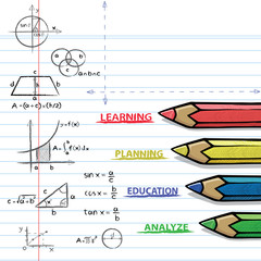 Color pencils and mathematical formulas. Drawing of mathematical on the paper in doodle style. Concept for education.