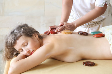 A day in the spa - hot stones therapy massage