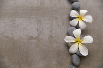 Foto op Plexiglas Spa Spa stone with two frangipani on grey background.