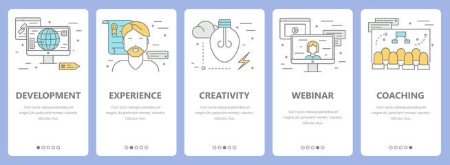 Vector set of thin line flat design e-learning concept banners