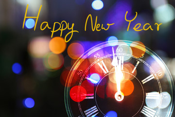 Beauty of Bokeh light and vintage clock for Happy New Year 2017