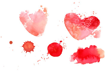 Vector set of abstract watercolor pink textures