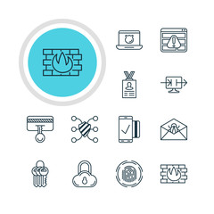 Vector Illustration Of 12 Internet Security Icons. Editable Pack Of Safety Key, Finger Identifier, Network Protection And Other Elements.
