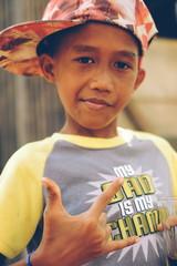 Cute Asian little boy gangster style