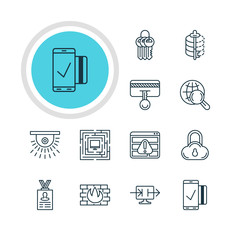 Vector Illustration Of 12 Privacy Icons. Editable Pack Of Browser Warning, System Security, Network Protection And Other Elements.