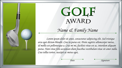 Certificate template for golf award