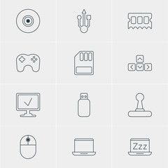Vector Illustration Of 12 Notebook Icons. Editable Pack Of Usb Icon, Gamepad, Game Controller And Other Elements.