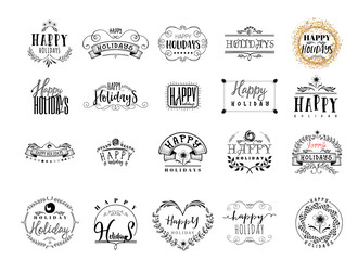 Typographic badges - Happy Holidays. On the basis of script fonts, handmade. It can be used to design your printed products