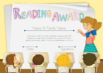 Certificate template for reading award with students in background