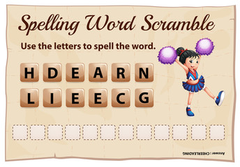 Spelling word game with word cheerleading
