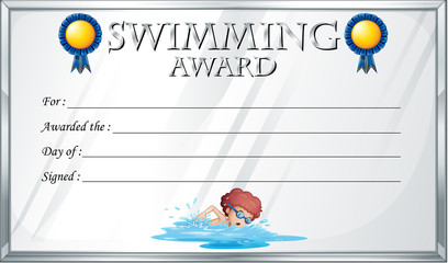 Certificate template for swimming award