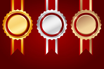 Set of Gold, silver and bronze award red ribbon on red background, vector illustration