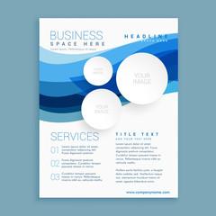 elegant blue wave business brochure flyer design template in A4 size