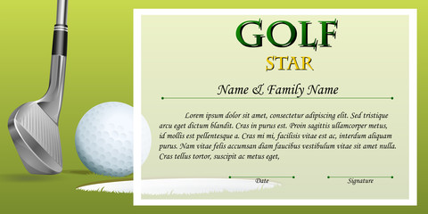 Certificate template for golf star with green background