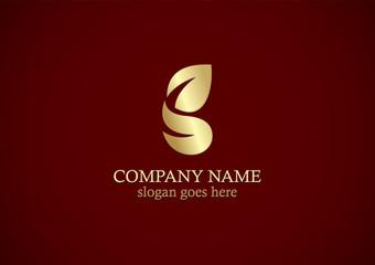 gold leaf organic letter g logo