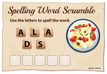 Spelling word game with word salad