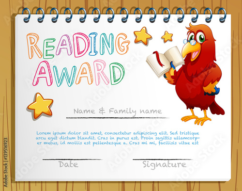 Certificate Template For Reading Award Stock Image And Royalty Free