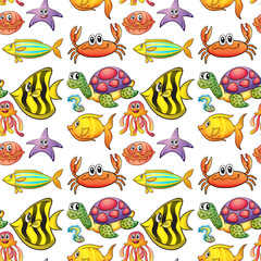 Seamless background with colorful fish