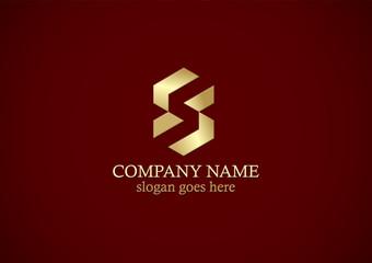 gold shape letter s logo
