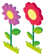 3D design for colorful flowers