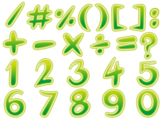 Math signs and numbers in green