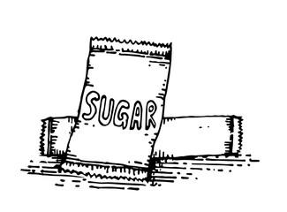 sugar in packaging hand drawing