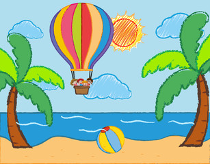 Scene with kids riding on balloon over the sea