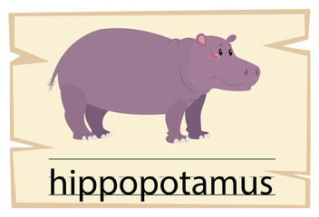 Wordcard template for word hippopotamus