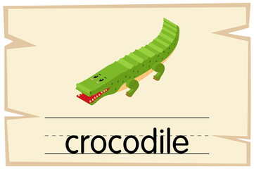 Wordcard template for word crocodile