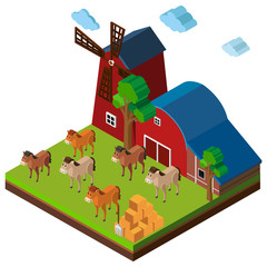3D design for farm scene with horses and barn