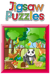 Jigsaw puzzle game with wild animals in jungle