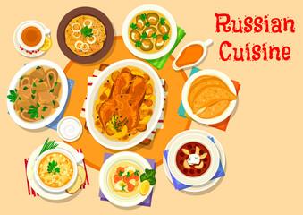 Russian cuisine delicious lunch icon design