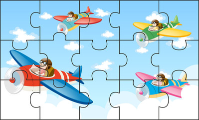 Jigsaw puzzle game with kids flying planes
