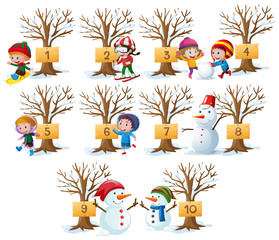Kids and numbers on tree in winter
