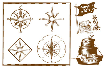 Pirate ship and other symbols