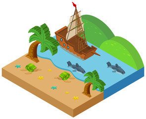 3D design for beach scene with ship and animals